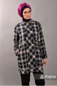 SK318 - PLAID SEMI-COAT