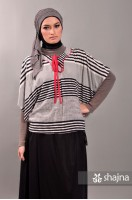 SK323 - STRIPED CAPE BLOUSE