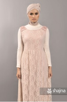 SK331B - BABY-PINK JERSEY-LACE DRESS