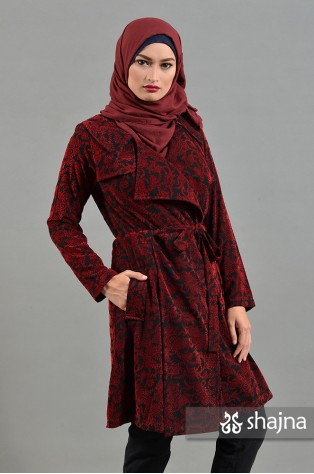 SK639B - RED ANNORA LIGHT COAT