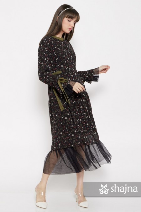 BLACK ACACIA MIDI DRESS - SK979