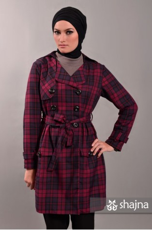SK317 - PLAID TRENCH COAT