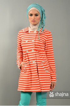 SK358 - STRIPED JERSEY TERRY COAT