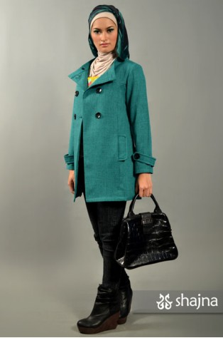 SK363 - DOUBLE BREASTED FUNNEL NECK COAT