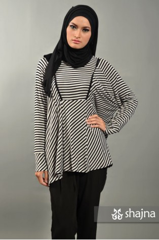 SK364 - BLACK-GREY STRIPED ASYMMETRICAL TOP