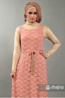 SK374 - SALMON JERSEY-LACE DRESS