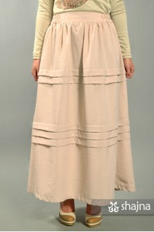 SKR036A - LIGHT SALMON HORIZONTAL PLEATED SKIRT