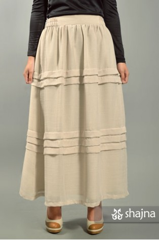 SKR036B - CREAM HORIZONTAL PLEATED SKIRT